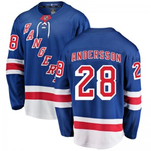 Adult Breakaway New York Rangers Lias Andersson Blue Home Official Fanatics Branded Jersey