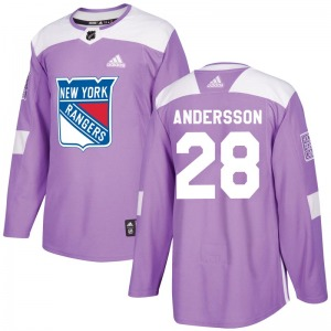 Adult Authentic New York Rangers Lias Andersson Purple Fights Cancer Practice Official Adidas Jersey