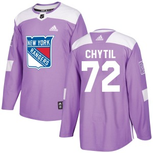 Adult Authentic New York Rangers Filip Chytil Purple Fights Cancer Practice Official Adidas Jersey