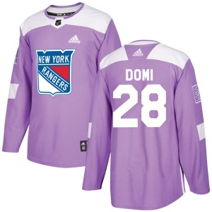 Adult Authentic New York Rangers Tie Domi Purple Fights Cancer Practice Official Adidas Jersey