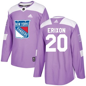 Adult Authentic New York Rangers Jan Erixon Purple Fights Cancer Practice Official Adidas Jersey