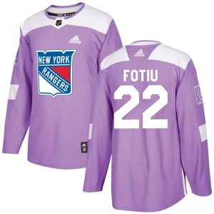 Adult Authentic New York Rangers Nick Fotiu Purple Fights Cancer Practice Official Adidas Jersey