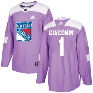 Adult Authentic New York Rangers Eddie Giacomin Purple Fights Cancer Practice Official Adidas Jersey
