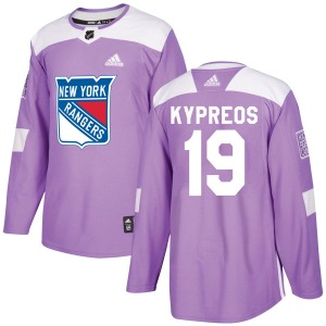 Adult Authentic New York Rangers Nick Kypreos Purple Fights Cancer Practice Official Adidas Jersey