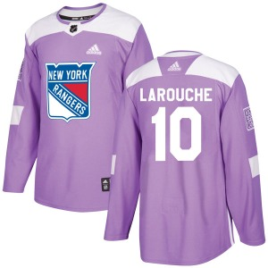 Adult Authentic New York Rangers Pierre Larouche Purple Fights Cancer Practice Official Adidas Jersey