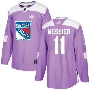 Adult Authentic New York Rangers Mark Messier Purple Fights Cancer Practice Official Adidas Jersey