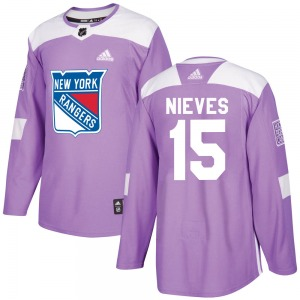 Adult Authentic New York Rangers Boo Nieves Purple Fights Cancer Practice Official Adidas Jersey