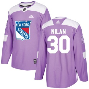 Adult Authentic New York Rangers Chris Nilan Purple Fights Cancer Practice Official Adidas Jersey