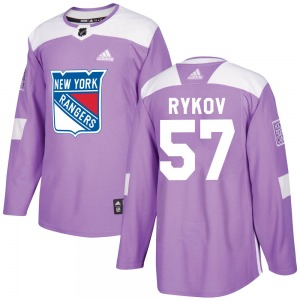 Adult Authentic New York Rangers Yegor Rykov Purple Fights Cancer Practice Official Adidas Jersey