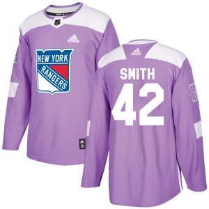 Adult Authentic New York Rangers Brendan Smith Purple Fights Cancer Practice Official Adidas Jersey