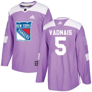 Adult Authentic New York Rangers Carol Vadnais Purple Fights Cancer Practice Official Adidas Jersey