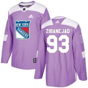 Adult Authentic New York Rangers Mika Zibanejad Purple Fights Cancer Practice Official Adidas Jersey
