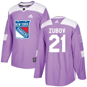 Adult Authentic New York Rangers Sergei Zubov Purple Fights Cancer Practice Official Adidas Jersey