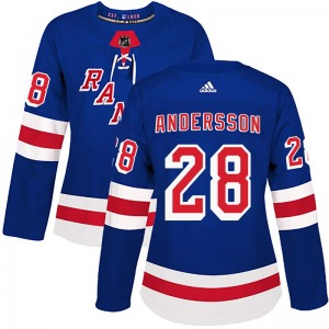 Women's Authentic New York Rangers Lias Andersson Royal Blue Home Official Adidas Jersey