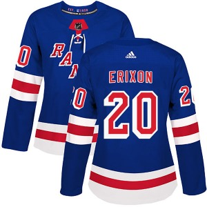 Women's Authentic New York Rangers Jan Erixon Royal Blue Home Official Adidas Jersey