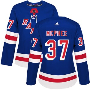 Women's Authentic New York Rangers George Mcphee Royal Blue Home Official Adidas Jersey