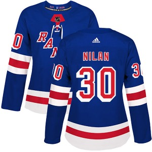 Women's Authentic New York Rangers Chris Nilan Royal Blue Home Official Adidas Jersey
