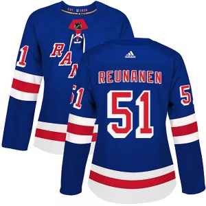 Women's Authentic New York Rangers Tarmo Reunanen Royal Blue Home Official Adidas Jersey