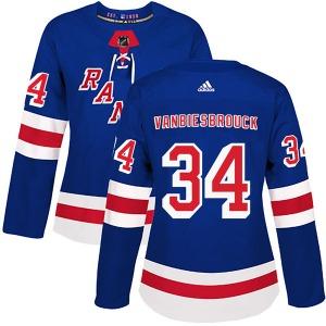 Women's Authentic New York Rangers John Vanbiesbrouck Royal Blue Home Official Adidas Jersey