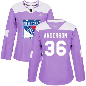 Women's Authentic New York Rangers Glenn Anderson Purple Fights Cancer Practice Official Adidas Jersey
