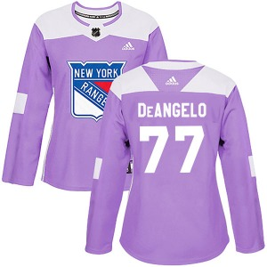 Women's Authentic New York Rangers Tony DeAngelo Purple Fights Cancer Practice Official Adidas Jersey