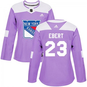 Women's Authentic New York Rangers Nick Ebert Purple Fights Cancer Practice Official Adidas Jersey