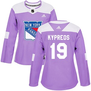 Women's Authentic New York Rangers Nick Kypreos Purple Fights Cancer Practice Official Adidas Jersey