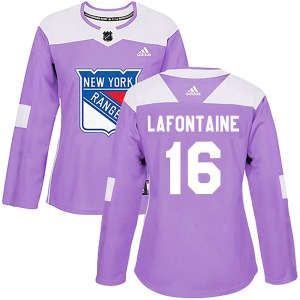 Women's Authentic New York Rangers Pat Lafontaine Purple Fights Cancer Practice Official Adidas Jersey