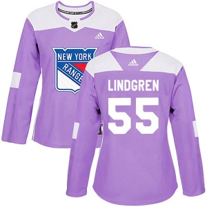 Women's Authentic New York Rangers Ryan Lindgren Purple Fights Cancer Practice Official Adidas Jersey