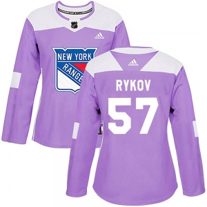 Women's Authentic New York Rangers Yegor Rykov Purple Fights Cancer Practice Official Adidas Jersey