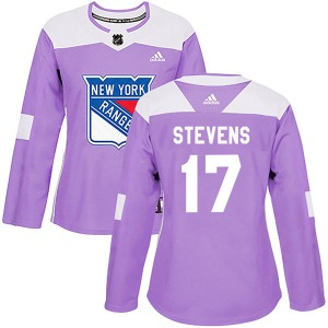 Women's Authentic New York Rangers Kevin Stevens Purple Fights Cancer Practice Official Adidas Jersey