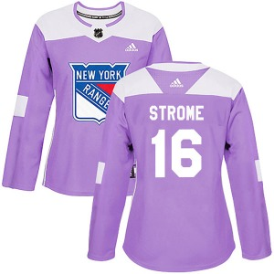 Women's Authentic New York Rangers Ryan Strome Purple Fights Cancer Practice Official Adidas Jersey