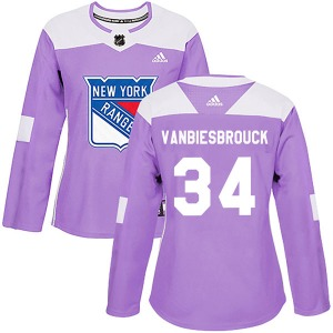 Women's Authentic New York Rangers John Vanbiesbrouck Purple Fights Cancer Practice Official Adidas Jersey