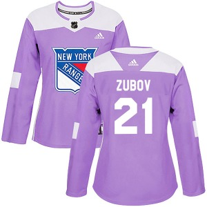 Women's Authentic New York Rangers Sergei Zubov Purple Fights Cancer Practice Official Adidas Jersey