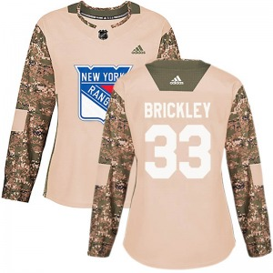 Women's Authentic New York Rangers Connor Brickley Camo Veterans Day Practice Official Adidas Jersey