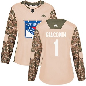 Women's Authentic New York Rangers Eddie Giacomin Camo Veterans Day Practice Official Adidas Jersey