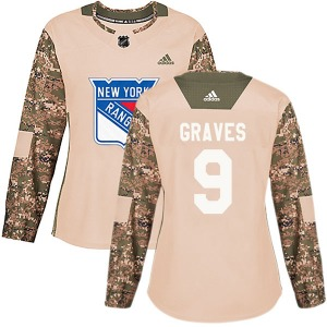 Women's Authentic New York Rangers Adam Graves Camo Veterans Day Practice Official Adidas Jersey