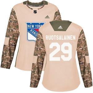 Women's Authentic New York Rangers Reijo Ruotsalainen Camo Veterans Day Practice Official Adidas Jersey
