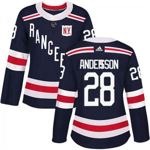 Women's Authentic New York Rangers Lias Andersson Navy Blue 2018 Winter Classic Home Official Adidas Jersey