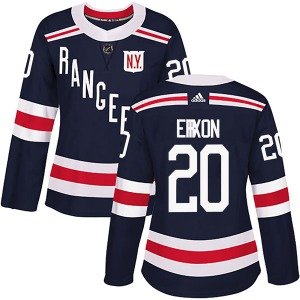 Women's Authentic New York Rangers Jan Erixon Navy Blue 2018 Winter Classic Home Official Adidas Jersey