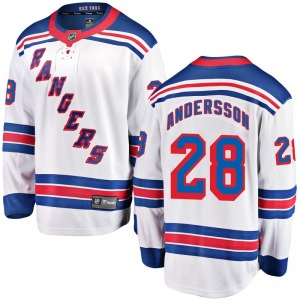 Youth Breakaway New York Rangers Lias Andersson White Away Official Fanatics Branded Jersey