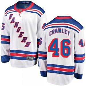 Youth Breakaway New York Rangers Brandon Crawley White ized Away Official Fanatics Branded Jersey