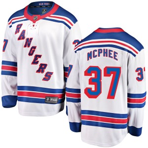 Youth Breakaway New York Rangers George Mcphee White Away Official Fanatics Branded Jersey