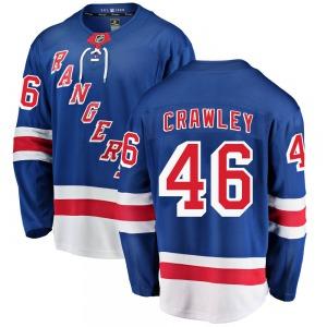 Youth Breakaway New York Rangers Brandon Crawley Blue ized Home Official Fanatics Branded Jersey