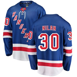 Youth Breakaway New York Rangers Chris Nilan Blue Home Official Fanatics Branded Jersey