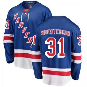 Youth Breakaway New York Rangers Igor Shesterkin Blue Home Official Fanatics Branded Jersey