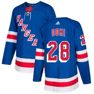 Adult Authentic New York Rangers Tie Domi Royal Official Adidas Jersey