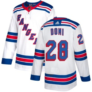 Adult Authentic New York Rangers Tie Domi White Official Adidas Jersey