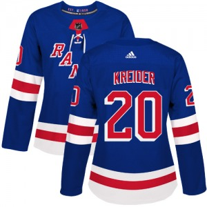Women's Authentic New York Rangers Chris Kreider Royal Blue Home Official Adidas Jersey