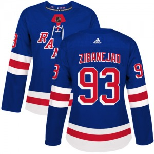 Women's Authentic New York Rangers Mika Zibanejad Royal Blue Home Official Adidas Jersey
